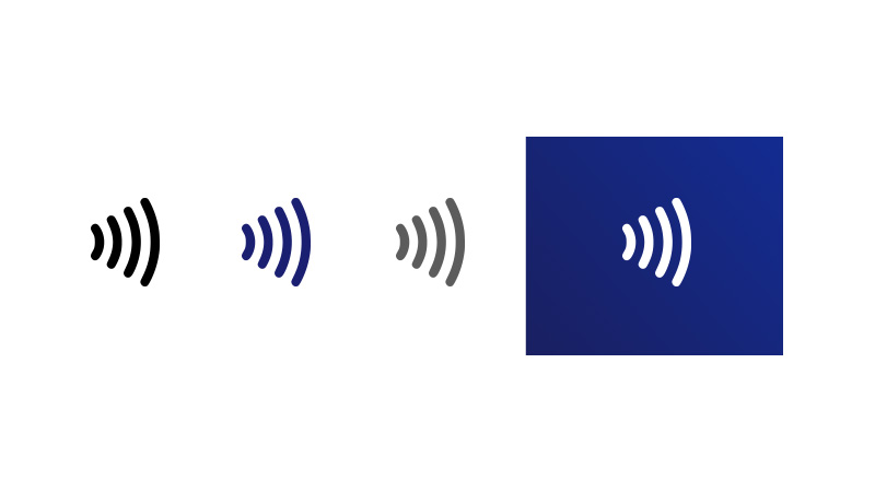 Three contactless indicator logos diminishing in size from left to right. Fourth image shows contactless indicator in white on dark blue background.