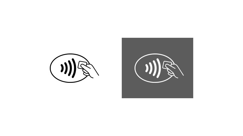 On left, Contactless symbol on white background. On right, Contactless symbol on dark grey background.