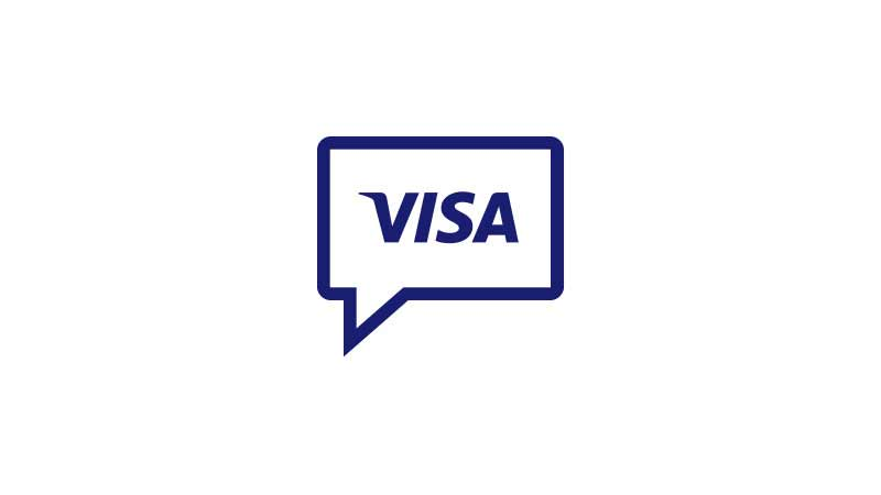 Illustration of a speech bubble with the Visa logo in it, representing the blog.
