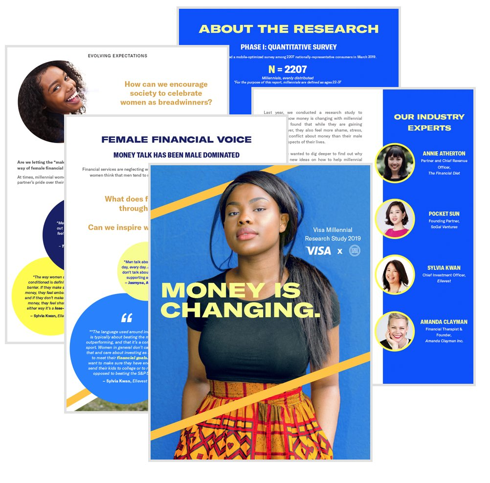 The cover and four pages from the Money is Changing white paper with titles: Female Financial voice, Our industry experts, Evolving Expectations and About the Research.