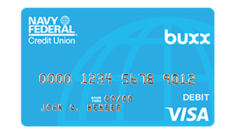 A Buxx Navy Federal Credit Union Visa Debit Card.