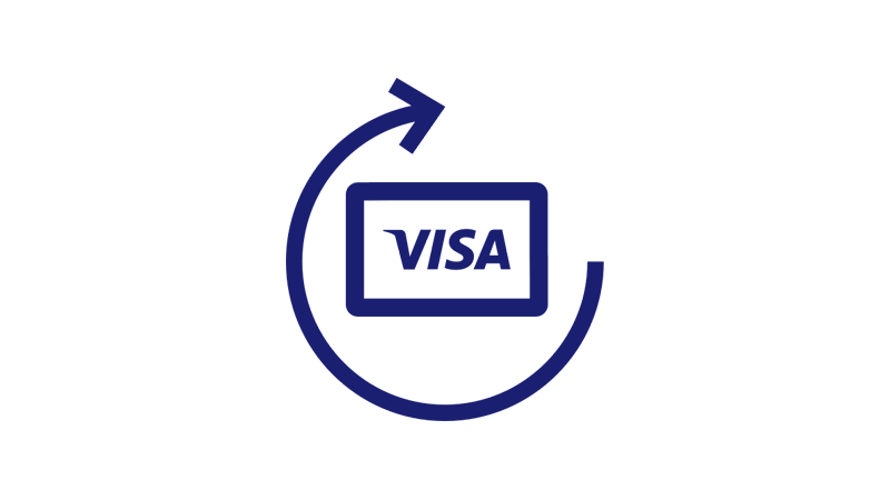 A Visa card with a circular arrow being drawn around it.