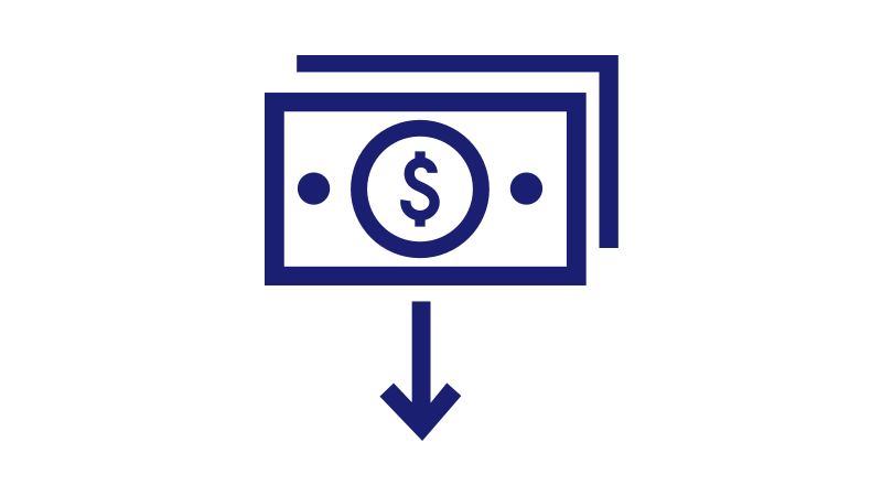 Illustration of a stack of cash and an arrow pointing down.