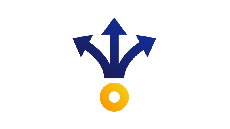 a circle with 3 arrows pointing out in different directions.