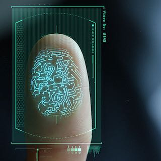A biometric fingerprint scan.