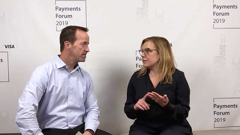 Amy Dawson talking to an interviewer at the Visa Payments Forum 2019.