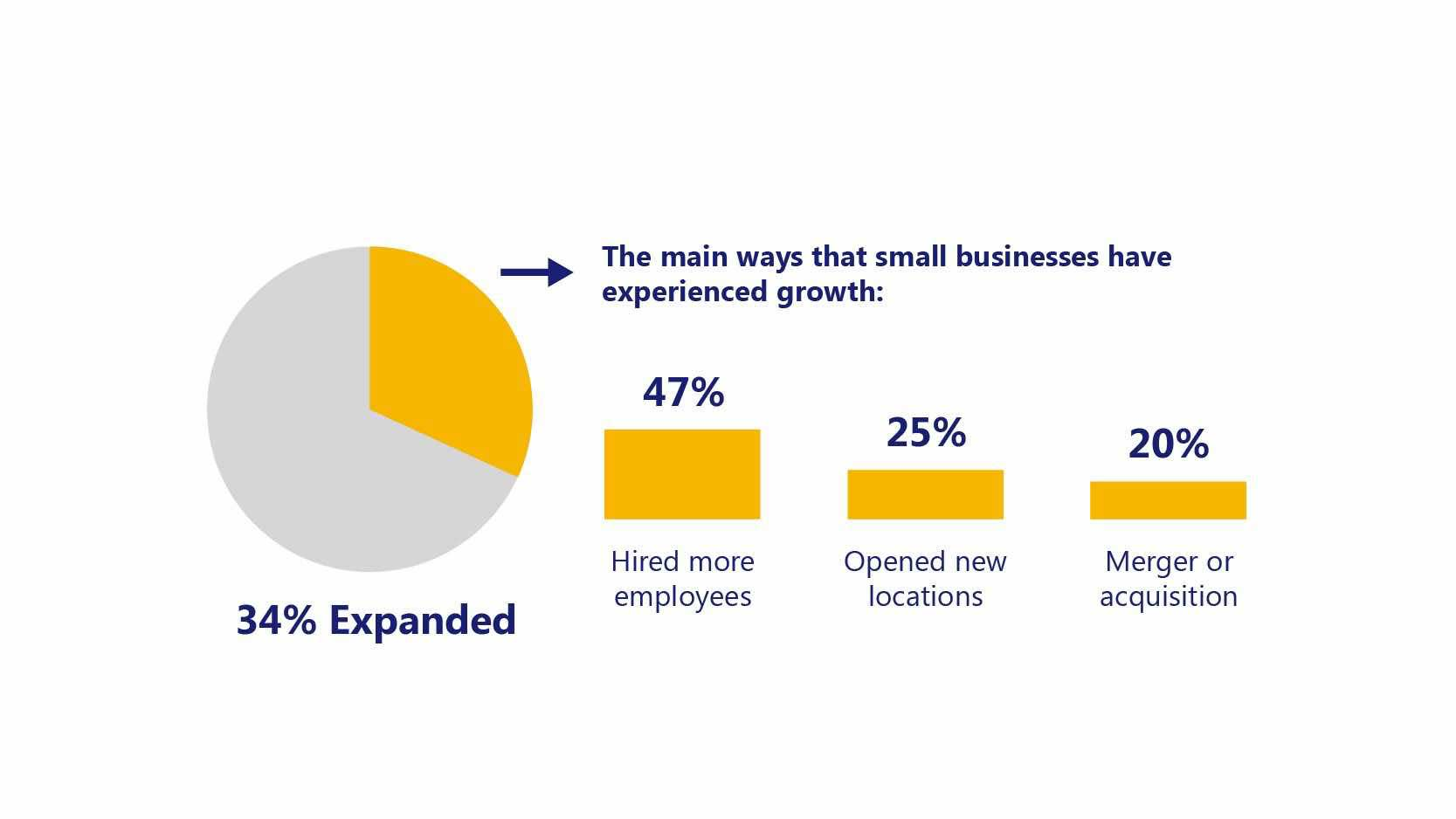 Pie chart shows 34% of small businesses have expanded, with 47% hiring more people, 25% adding new locations and 20% growing by mergers/acquisitions.