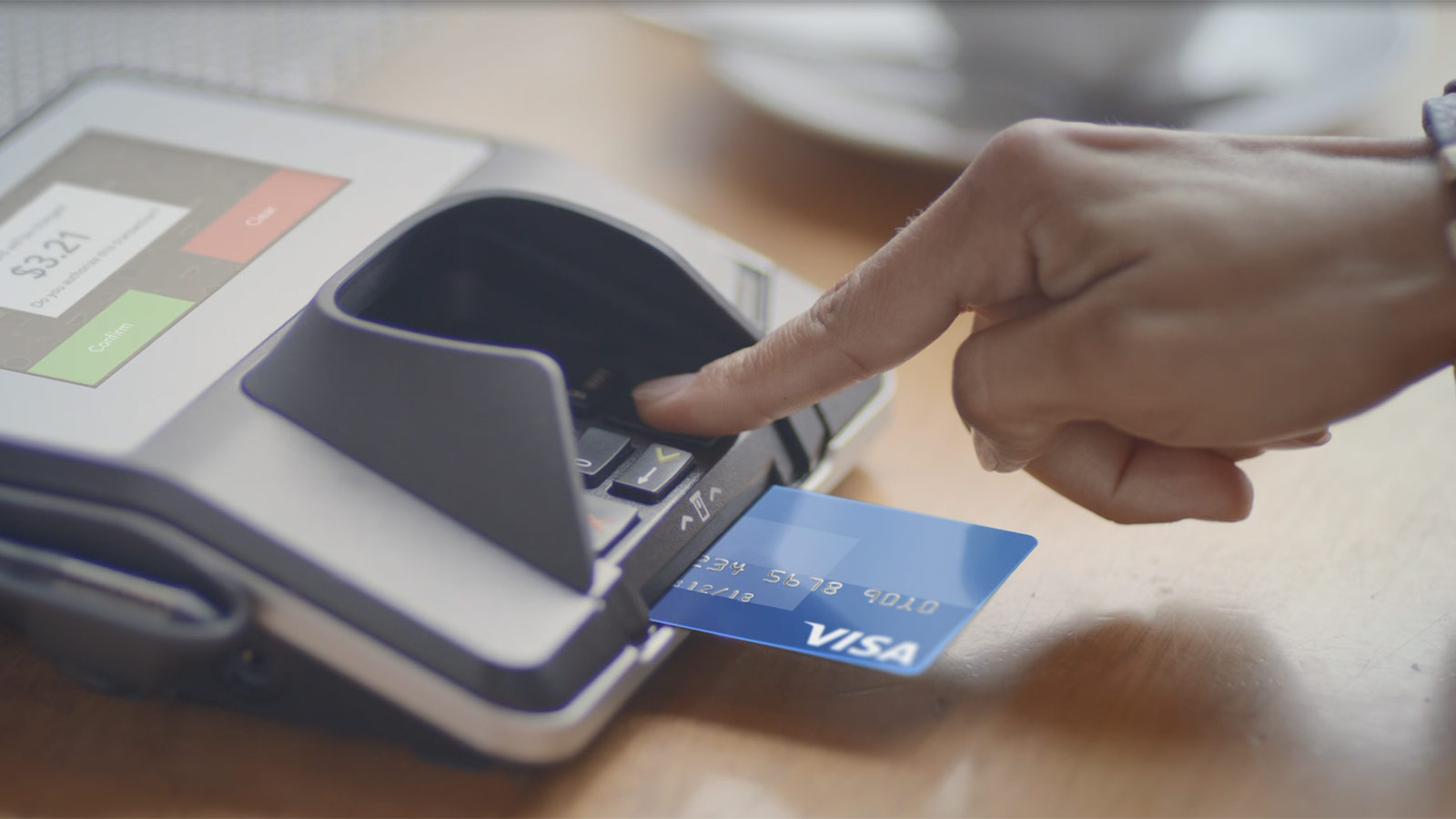 Visa chip card inserted in a paying machine