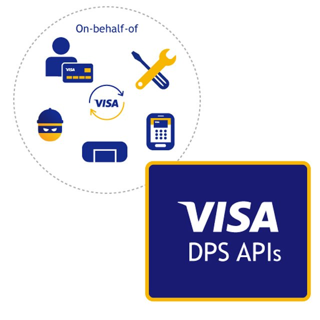 Composite: On behalf of tools, calculator, rectangle, bandit and, person and credit card and Visa DPS APIs logo.