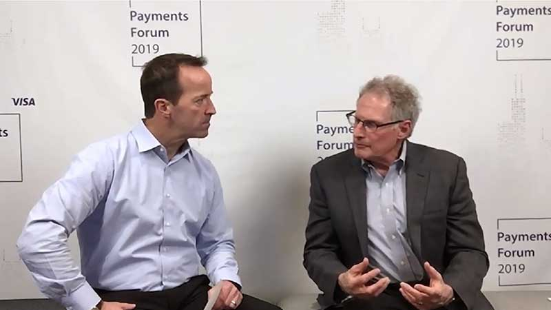 Michael Marx talking to an interviewer at the Visa Payments Forum 2019.