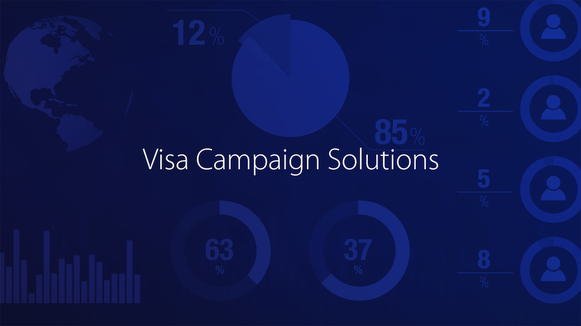 Visa Campaign Solutions with different graphs in the background.