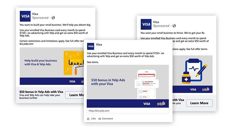 Graphic of three overlaid pages showing Visa and Yelp co-branded offer.