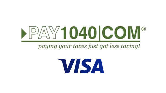 Pay 1040 com and Visa logos.
