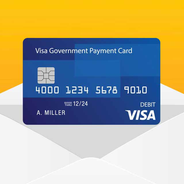 Illustration of a Visa Government Payment Card coming out of an envelope.