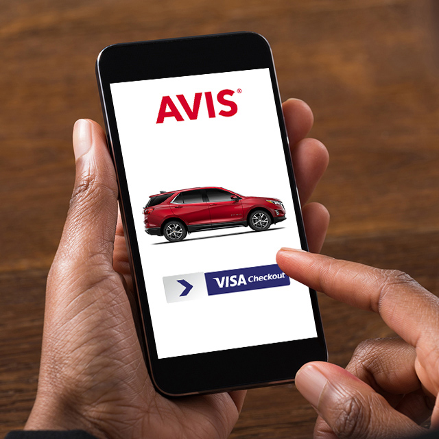 Person using Visa Checkout on Avis website