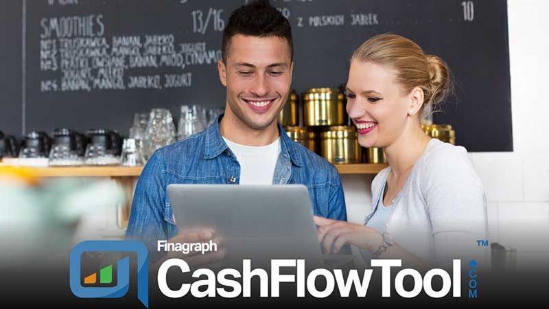 Smiling couple looking at a tablet with the Fingraph CashFlowTool logo superimposed.