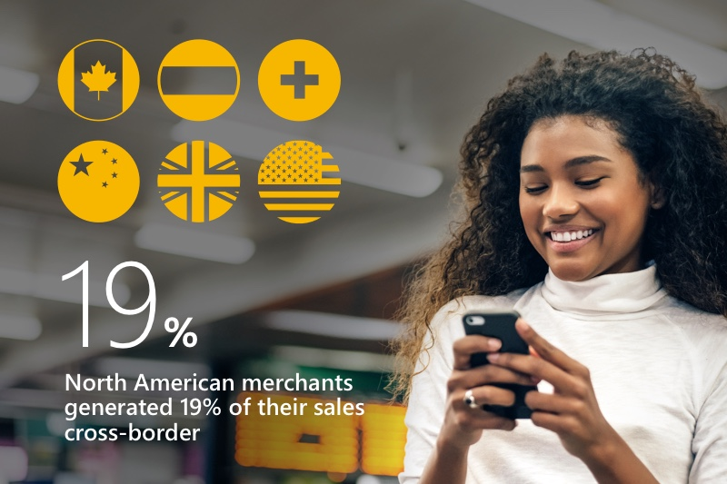 Composite: Woman looking at her phone and superimposed country flags to show that North American merchants generated 19% of their sales cross-border.