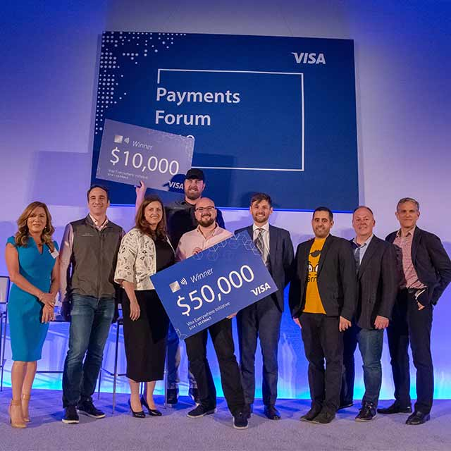 Visa Everywhere Initiative (VEI) 2019 winners onstage.
